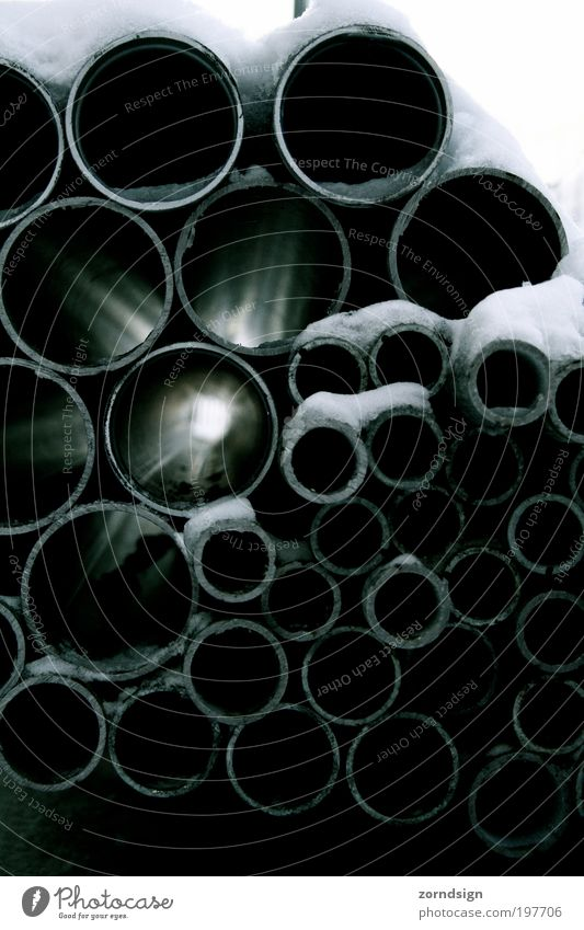 Light tube II Metal Advancement Hope Future Iron-pipe Pipe Construction site Subdued colour Detail Deserted Shadow Day