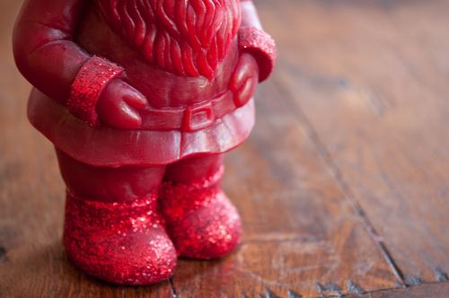 Don't step on my red glitter shoes Candle Christmas & Advent Garden gnome Wood Wait Fat Brown Red Santa Claus Beard Belt Colour photo Subdued colour