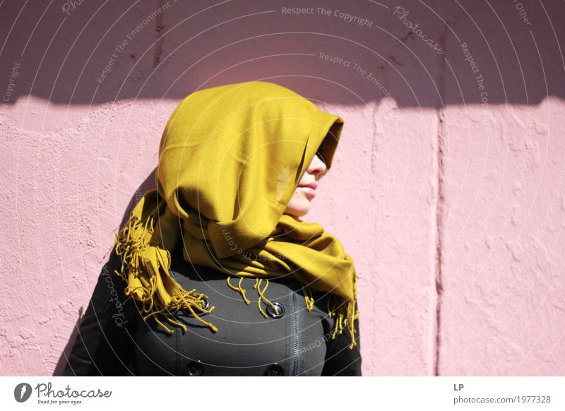 profile of a young woman wearing a scarf Human being Youth (Young adults) Young woman Beautiful Relaxation Calm Life Sadness Lifestyle Emotions Feminine Style Fashion Dream Contentment Illuminate