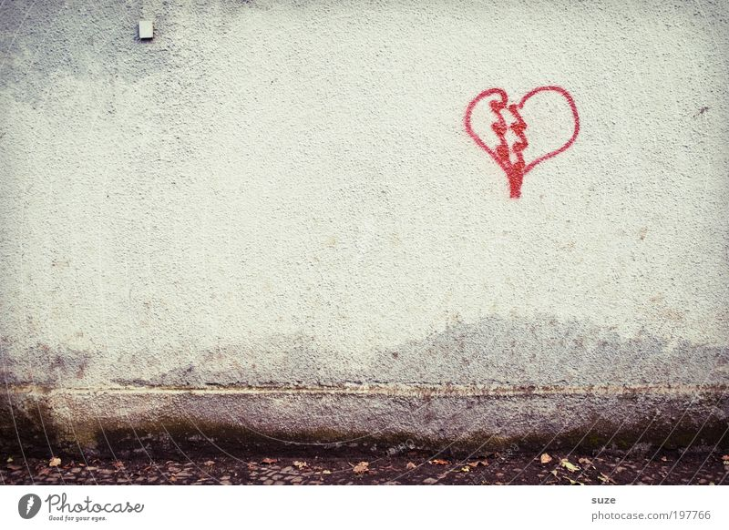 Red Loneliness Love Graffiti Wall (building) Emotions Wall (barrier) Building Stone Facade Heart Romance Sign Symbols and metaphors Kitsch End