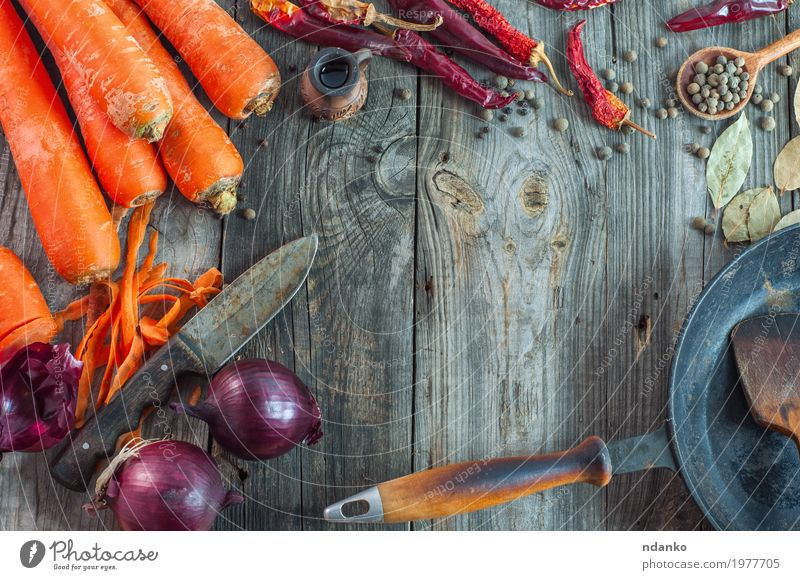fresh vegetables on the gray wooden surface Vegetable Herbs and spices Nutrition Vegetarian diet Diet Pan Knives Table Wood Old Eating Fresh Above Juicy Gray
