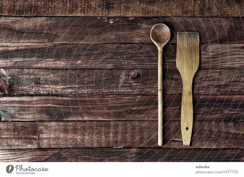 wooden kitchen spatula and a spoon on a brown surface Old Dish Wood Brown Retro Table Kitchen Top Surface Spoon