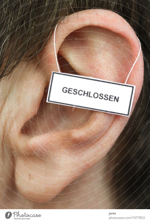 closed Human being Ear 1 Signage Warning sign Listening To talk Communicate Life Closed hear away Colour photo Studio shot Close-up Detail Copy Space top