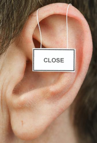 close Feminine Woman Adults Ear 1 Human being Signage Warning sign Listening Communicate Life Closed hear away Ignore Colour photo Studio shot Close-up