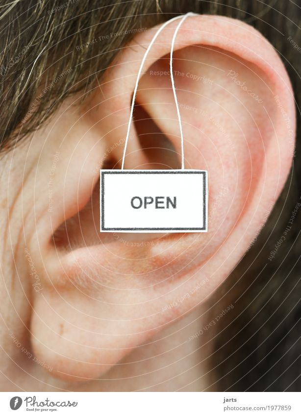 open Feminine Woman Adults Ear 1 Human being Signage Warning sign Listening Communicate Life Open Colour photo Studio shot Close-up Copy Space left
