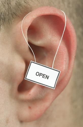 open Human being Ear 1 Signage Warning sign Listening To talk Optimism Honest Tolerant Life Colour photo Studio shot Close-up Detail Copy Space top