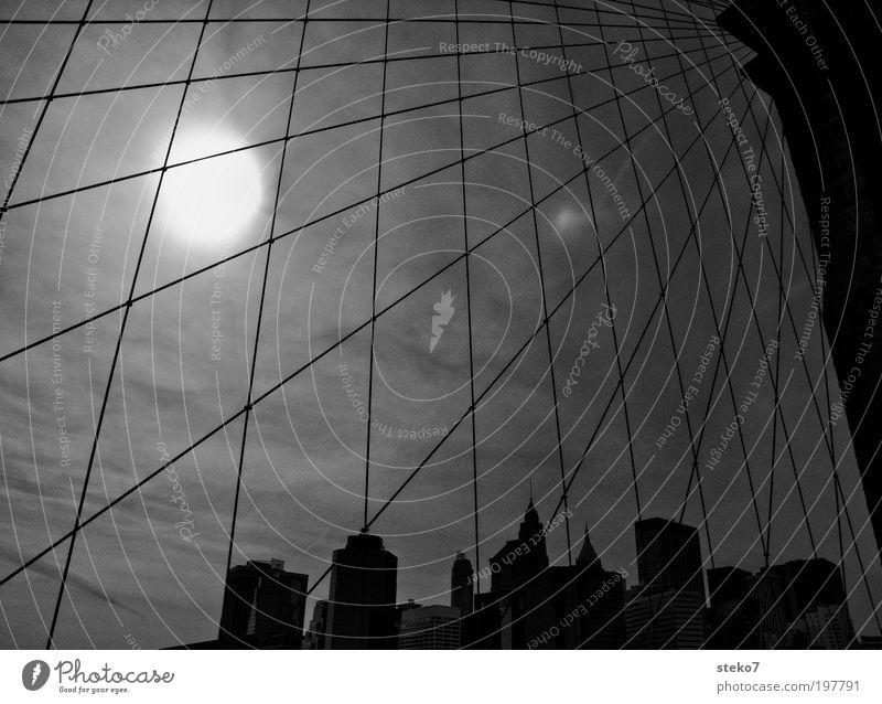 Sun Catcher Skyline High-rise Bridge Tourist Attraction Landmark Brooklyn Bridge Stagnating Surrealism Symmetry New York City Net Captured Aspire