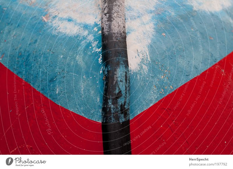 Blue Red Black Harbour Abstract Rowboat Means of transport Black & white photo Boating trip
