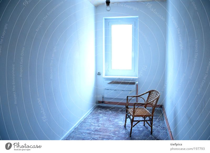 Blue Old White Loneliness House (Residential Structure) Cold Wall (building) Emotions Wall (barrier) Sadness Dirty Broken Construction site Chair Mysterious Expressionless