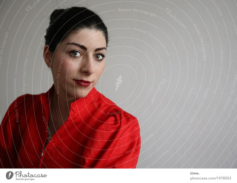 Berna Feminine Woman Adults 1 Human being Dress Black-haired Braids Observe Think Looking Wait Elegant Beautiful Red Contentment Self-confident Romance