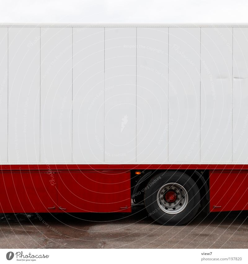red truck Transport Means of transport Street Vehicle Truck Mobile home Caravan Site trailer Trailer Metal Line Stripe Esthetic Thin Authentic Fresh Modern