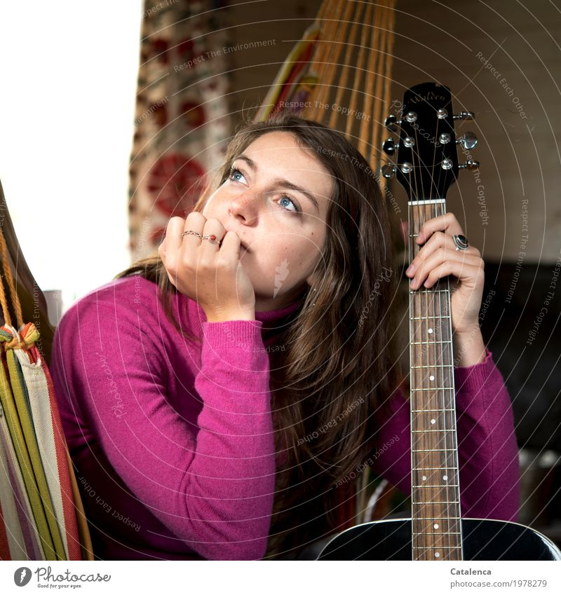 Vibration | Guitar Sides Room Feminine Young woman Youth (Young adults) 1 Human being Music Hammock Observe Touch Think Brown Orange Pink Black Moody