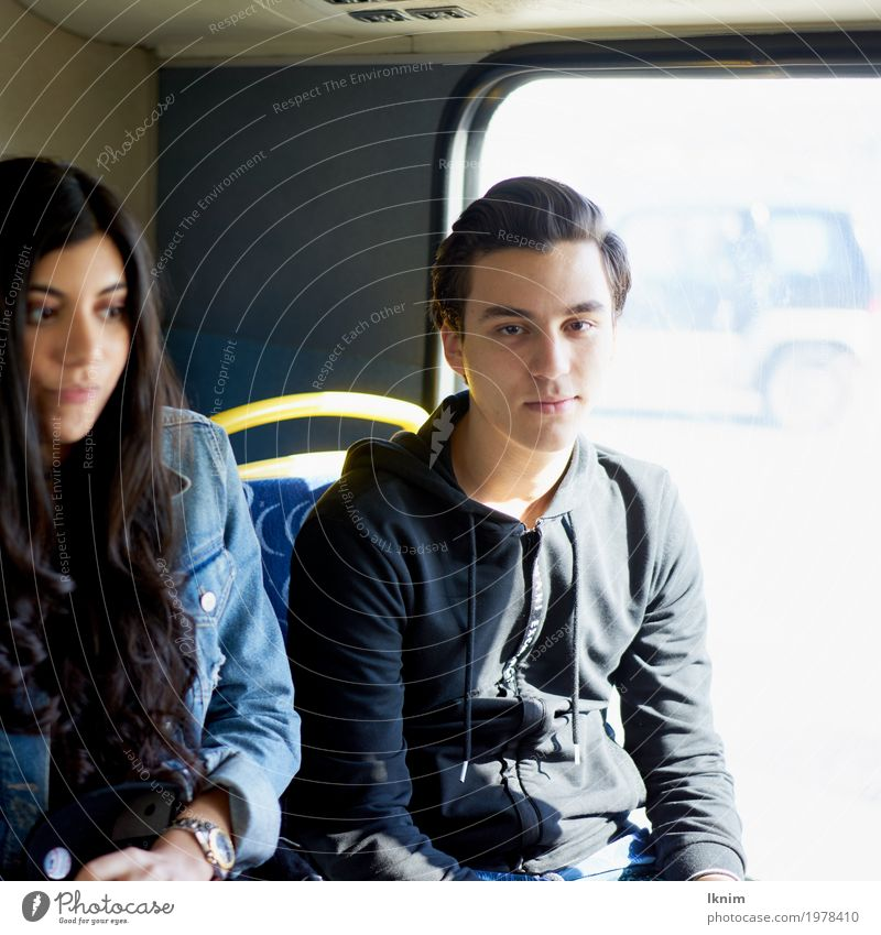 Two students sitting side by side in the bus Young woman Youth (Young adults) Young man Brothers and sisters Friendship Couple Partner 2 Human being