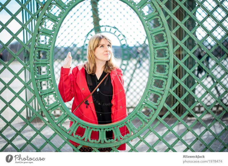 Fence Framed Portrait 1 Elegant Style Joy Feminine Young woman Youth (Young adults) Woman Adults Human being 18 - 30 years 30 - 45 years Esthetic Blonde Brash