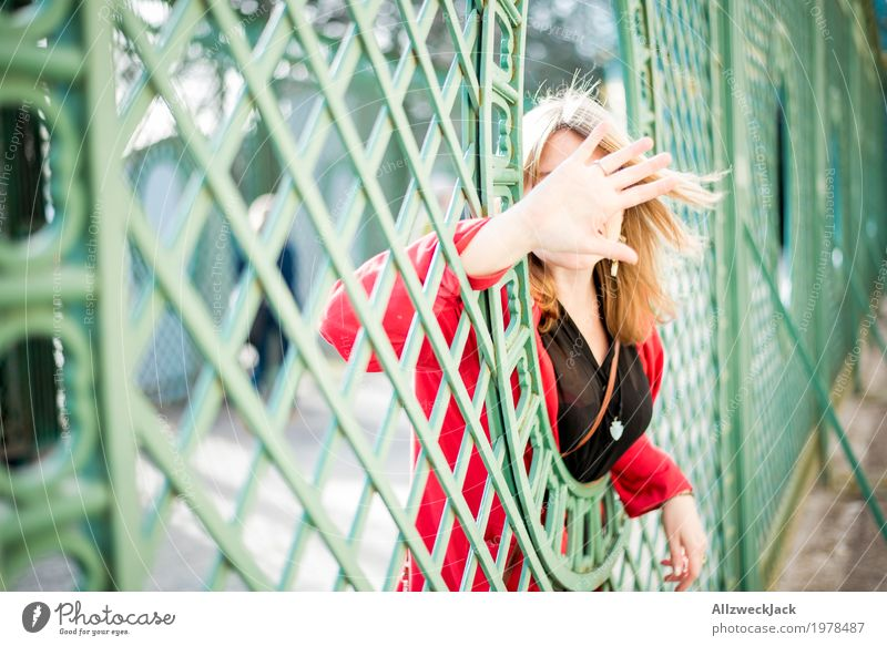 Human being Woman Youth (Young adults) Young woman Green Hand Red 18 - 30 years Adults Life Feminine Tourism Trip Blonde Communicate Hide