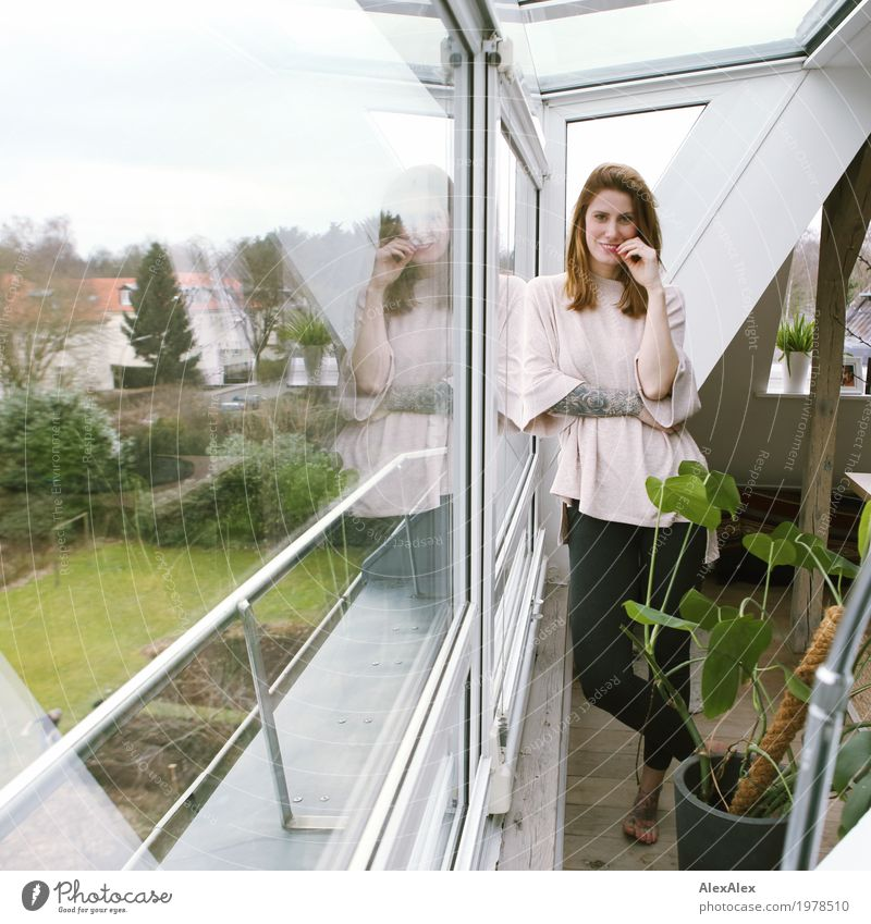 day off Lifestyle Style Joy Beautiful Flat (apartment) House (Residential Structure) Window Houseplant Joist Attic story Young woman Youth (Young adults)
