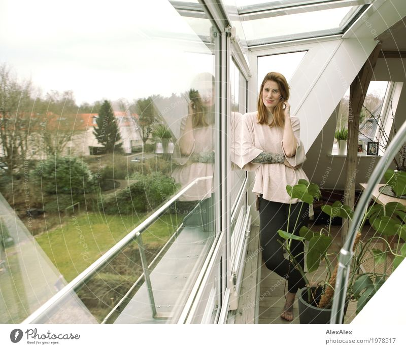 At home Lifestyle Style Beautiful Contentment Flat (apartment) Attic story Window Houseplant Garden Young woman Youth (Young adults) Body Environment