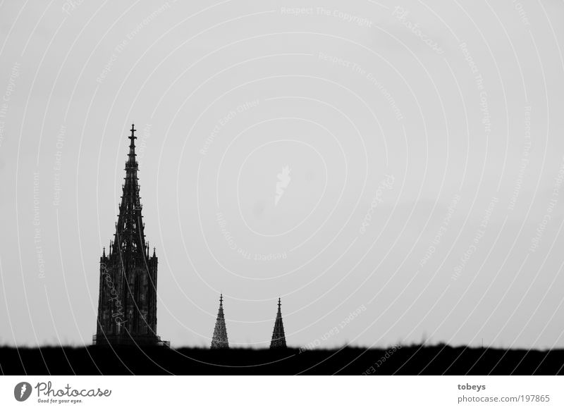 cathedrals Town Church Dome Manmade structures Old Ulm Tower Hill Horizon Religion and faith House of worship Safe haven Think Münster Point Spire