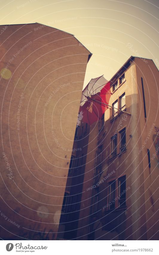 case study Chemnitz House (Residential Structure) Backyard Old building Umbrella Town Clamp Red To hold on Catch Colour photo Exterior shot Worm's-eye view