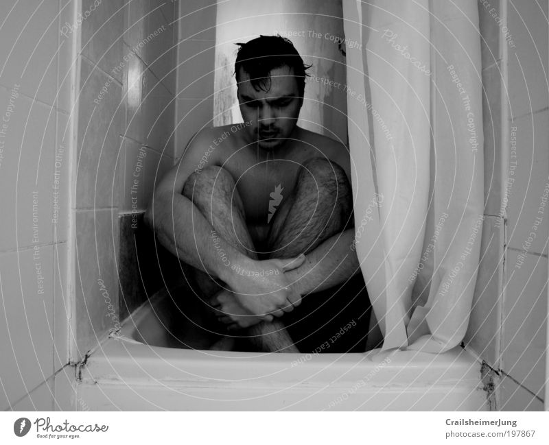 Human being Man White Black Loneliness Adults Cold Emotions Sadness Think Moody Body Arm Skin Masculine Grief