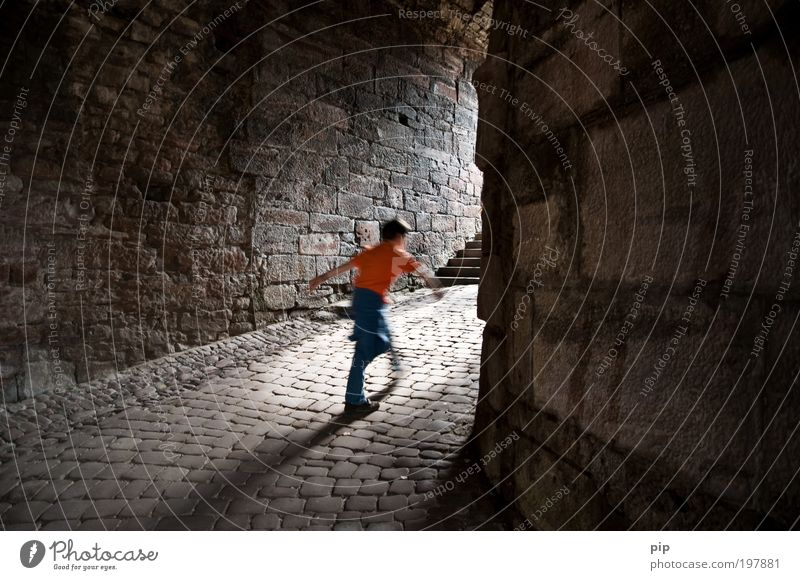 Go spenst Tourism Discover Boy (child) Castle Ruin Tunnel Stone Going Walking Dark Bright Historic Cold Curiosity Speed Gray Fear Dangerous Freedom Hope