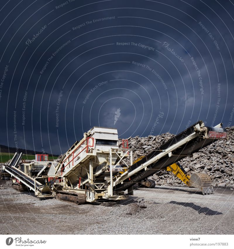 crusher Construction site Environment Sky Beautiful weather Bad weather Gale Thunder and lightning Vehicle Site trailer Stone Concrete Metal Sign Aggression