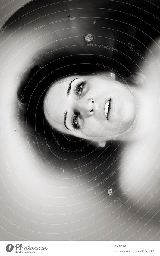 Human being Woman White Calm Adults Relaxation Dark Death Cold Feminine Head Bright Swimming & Bathing Fear Dirty Bathtub