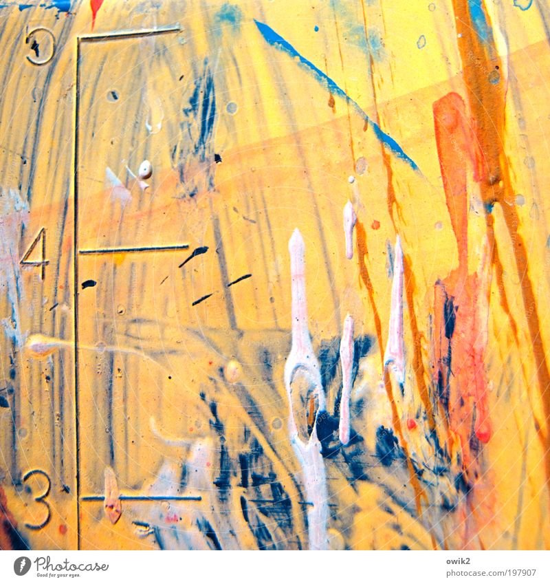 color theory Art Yellow Red Dye Tracks Smear Stripe Scale Digits and numbers Colour photo Multicoloured Close-up Detail Deserted