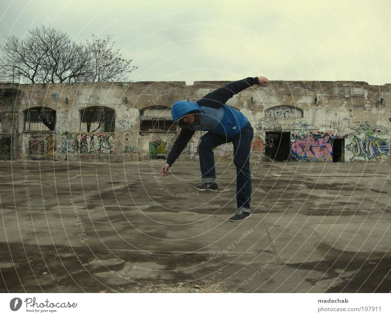Monkey dance Masculine Man Adults Berlin Town Ruin Wall (barrier) Wall (building) Stairs Facade Walking Old Dirty Dark Hip & trendy Broken Funny Trashy Gloomy