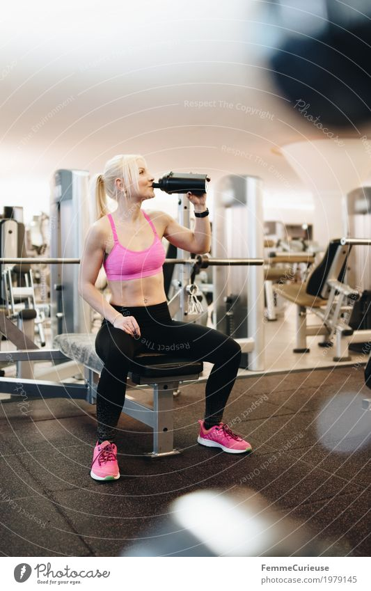 Human being Woman Youth (Young adults) Young woman 18 - 30 years Adults Lifestyle Healthy Movement Sports Feminine Pink Blonde Fitness Break Drinking