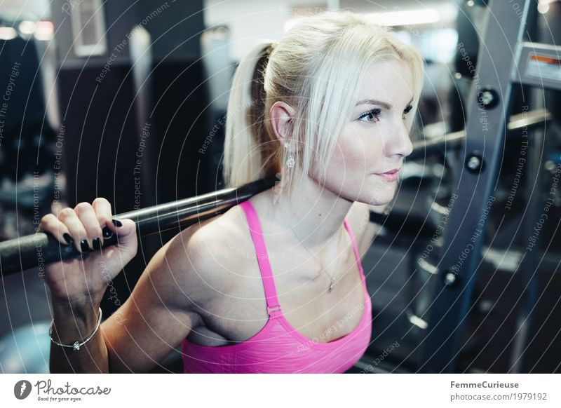 Fitness_31_1979192 Lifestyle Feminine Young woman Youth (Young adults) Woman Adults Human being 18 - 30 years Movement Blonde Ponytail Dumbbell Barbells