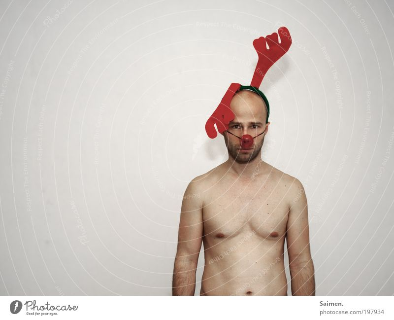 Human being Man Adults Naked Body Masculine Crazy Threat Observe Anger Trashy Antlers Fight Respect Aggression Frustration