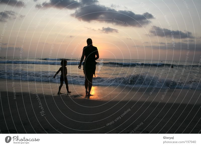 Human being Child Ocean Beach Joy Adults Freedom Dream Waves Island Stand Mother Trust Bali Family & Relations