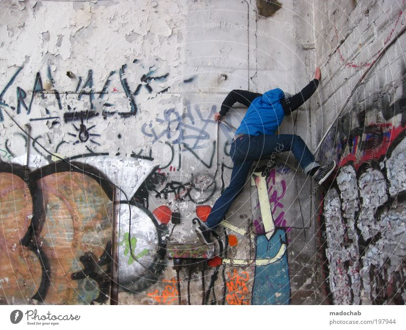fatal misjudgement Man Adults 18 - 30 years Youth (Young adults) Subculture Ruin Wall (barrier) Wall (building) To hold on Hang Athletic Hip & trendy Tall