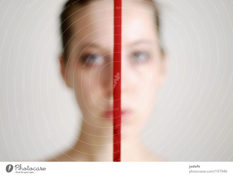 sad times two Feminine Young woman Youth (Young adults) Face 1 Human being 18 - 30 years Adults Red Sadness Line Gift wrapping Divided Dividing line two-sided 2