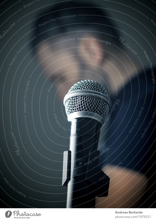 studio microphone Event Music Human being Masculine Body Retro Creativity speak recording musician black suit portrait holding conference professional Jazz back