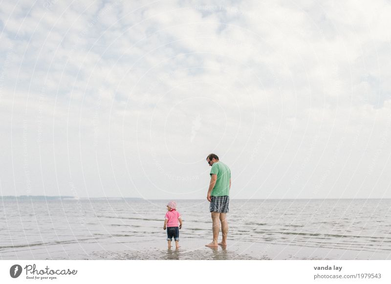 big and small Swimming & Bathing Leisure and hobbies Vacation & Travel Tourism Summer Summer vacation Sun Beach Ocean Baltic Sea Human being Child Toddler Girl