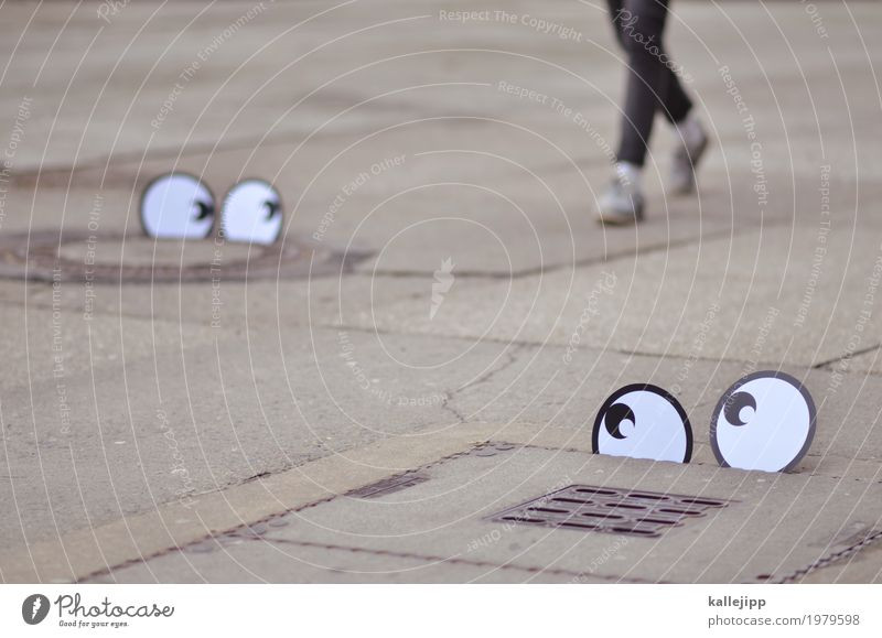 tracking Human being Eyes Legs Feet 1 Pants Jeans Footwear Sneakers Going pair of eyes Comic To go for a walk Looking Observe Surveillance customer analysis