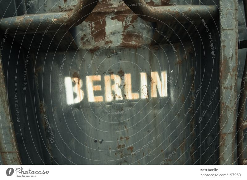 Berlin Capital city Town Container Metal Metalware Iron Steel Trash Dispose of Characters Lettering Typography Rust