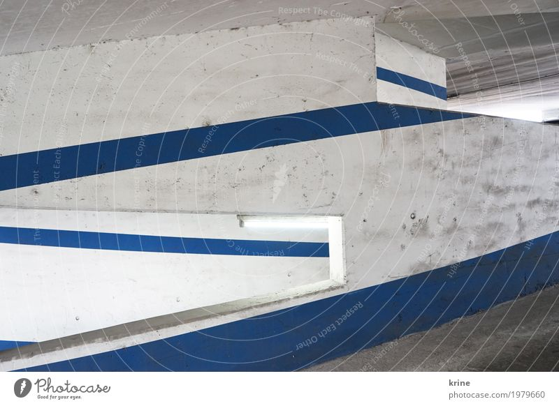 Line light II Deserted Parking garage Architecture Wall (barrier) Wall (building) Transport Stone Esthetic Authentic Dirty Blue White Empty Graphic Vista