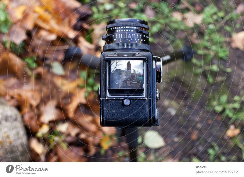 View into the viewfinder of a medium format film camera Profession Craftsperson Services Media industry Advertising Industry Camera Technology Retro tripod