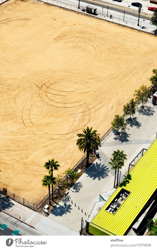 crop circles Overpopulated Deserted Town Construction site Los Angeles California Palm tree Skid marks Conspiracy theory Extraterrestrial Bird's-eye view Sand