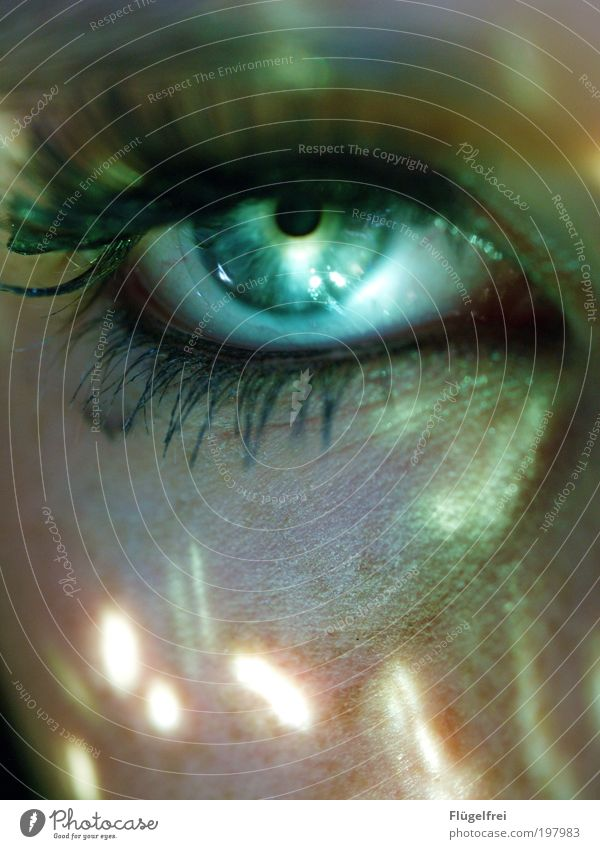 Human being Youth (Young adults) Green Face Adults Young woman Eyes Feminine 18 - 30 years Skin Observe Point Mysterious Turquoise Considerable Mystic