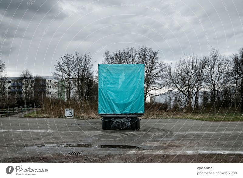 [HAL] Big Cyan Pixel Style Design Environment Landscape Transport Logistics Truck Trailer Movement Loneliness Uniqueness End Idea Creativity Life Planning Calm