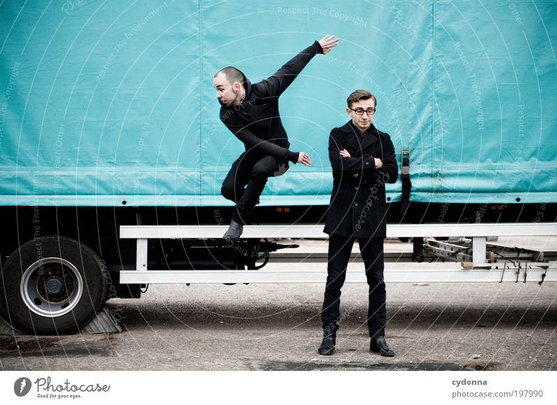 [HAL] Jump. Lifestyle Style Design Human being Man Adults Friendship Youth (Young adults) 2 18 - 30 years Transport Truck Trailer Movement Energy Resolve