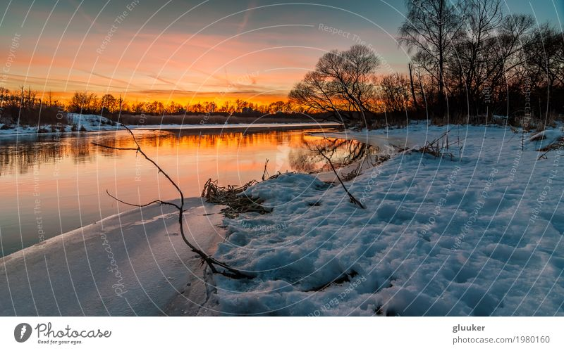 evening winter landscape. sunset over the river. February thaw Sky Nature Beautiful Water Tree Landscape Red Winter Environment Coast Snow Lake Brown Orange