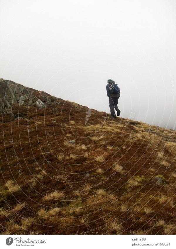 Foggy hike Leisure and hobbies Vacation & Travel Adventure Freedom Mountain Hiking Human being Masculine 1 Nature Landscape Island Scotland Bog Marsh Walking