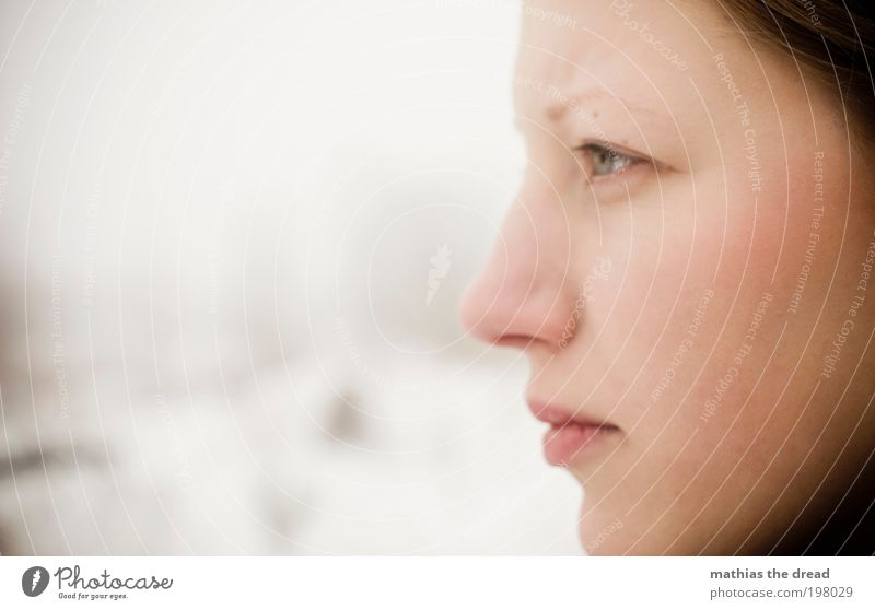 Human being Youth (Young adults) Beautiful Face Calm Eyes Cold Snow Feminine Dream Sadness Think Mouth Power Adults Nose