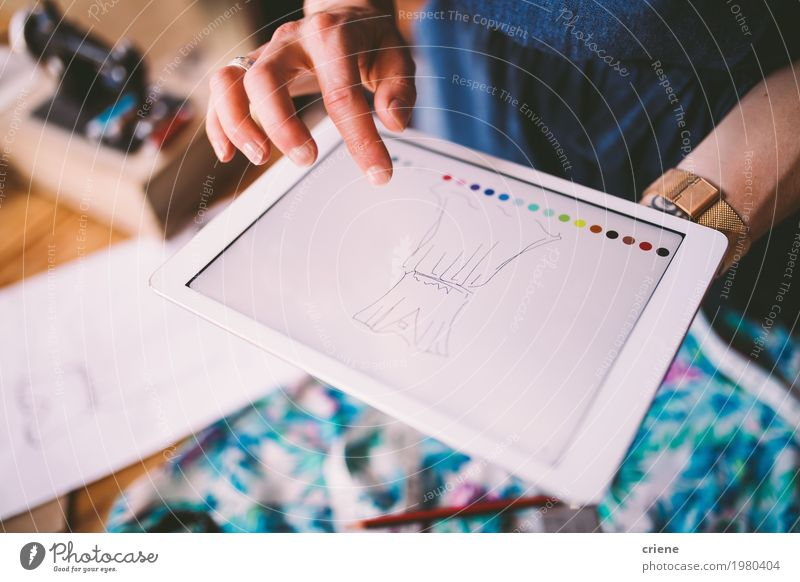 Fashion designer drawing template on digital device Woman Youth (Young adults) Adults Lifestyle Feminine Art Business Fashion Design Work and employment Office Technology Creativity Computer Clothing Dress