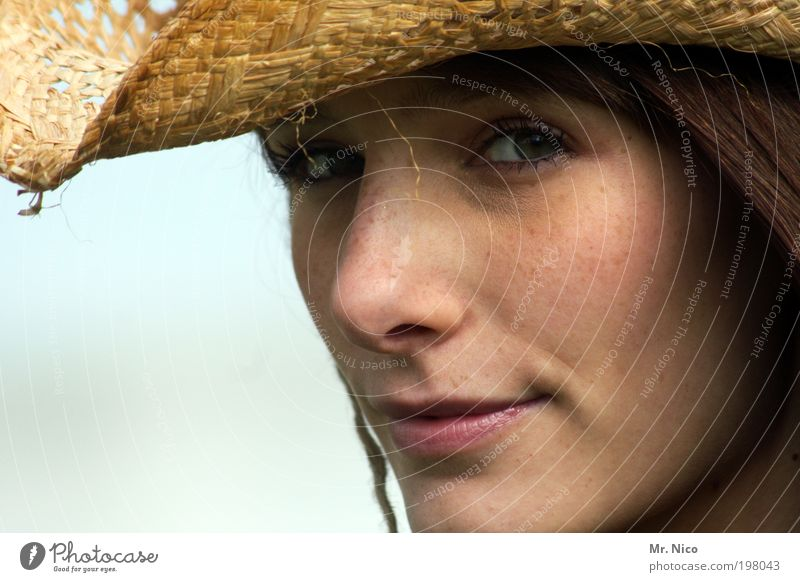 eyes wide shut Lipstick Feminine Woman Adults Skin Head Hair and hairstyles Face Eyes Nose Mouth Hat Brunette Cool (slang) Beautiful Summer Freckles Looking